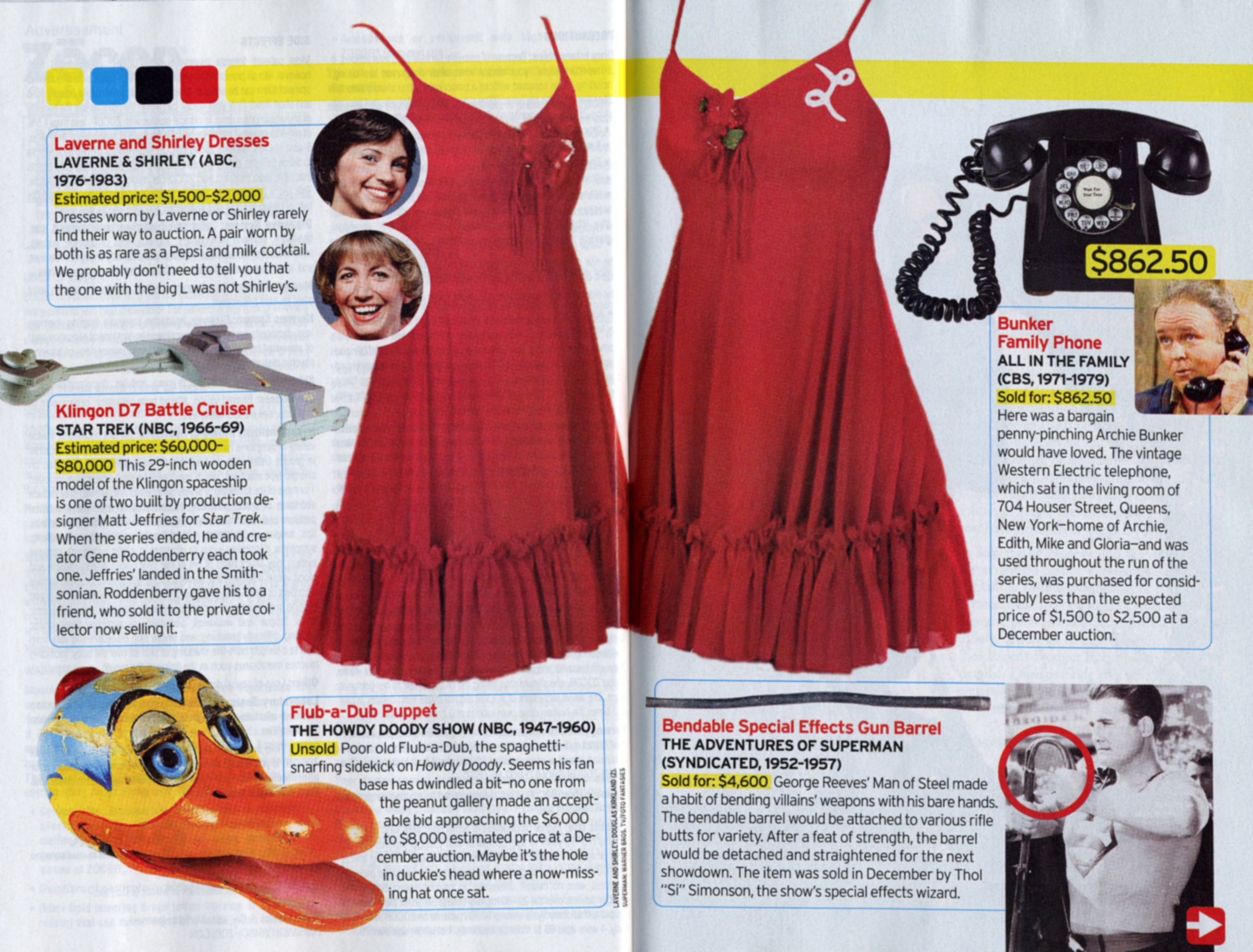 TV Guide Article with red Laverne and Shirley dresses